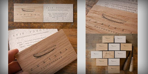 Wood design for modern business card