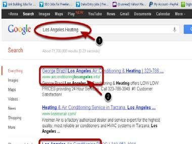"I have successfully placed two of my client's sites on the #1 and #3 position on the Google search query for ""Los Angeles Heating"" .. www.airconditioninglosangeles.us and www.airconditioninglosangeles.info ! Anyone need Search Engine Optimization work? Haha, Please check and let me know how do you think about that......."