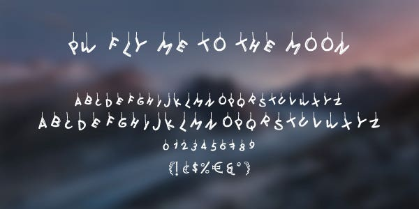 PW Fly Me to The Moon Free Font