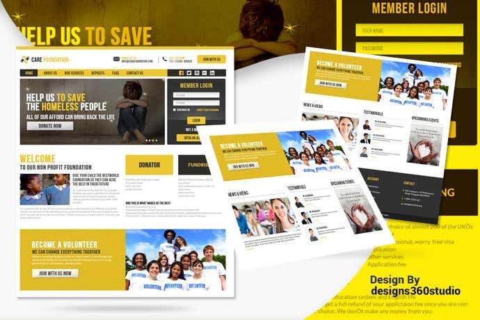 Best non-profit homepage design for Care Foundation