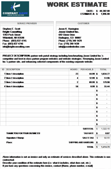 Estimate Invoice Template Insssrenterprisesco - Invoice quote template