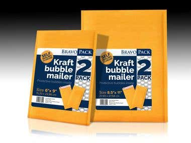 """Design one label that measures 5.5"""" wide x 6"""" tall for a package of Bravo Pack brand Kraft Bubble Mailers"""