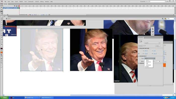 Step 3 of how to draw a caricature - tracing the face of your Donald Trump caricature