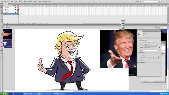 Step 10 of how to draw a caricature - adding shadows/highlights to your Donald Trump caricature