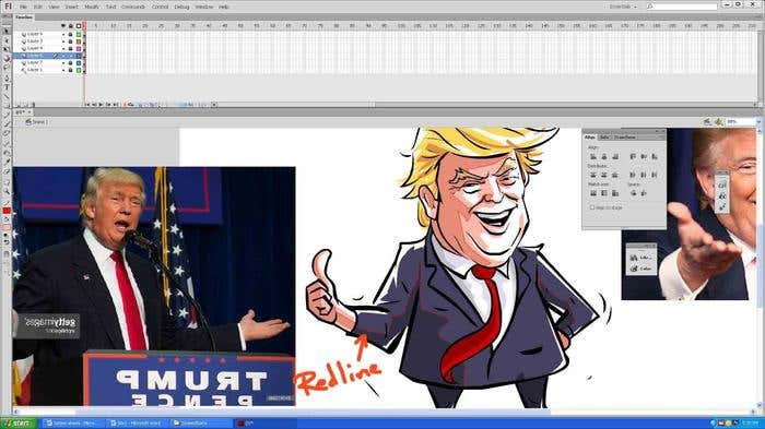 Step 10(a) of how to draw a caricature - adding shadows/highlights to your Donald Trump caricature