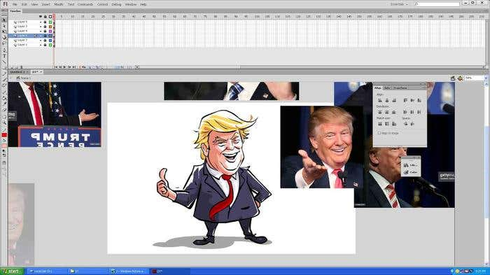 Step 11 of how to draw a caricature - adding the final touches to your Donald Trump caricature