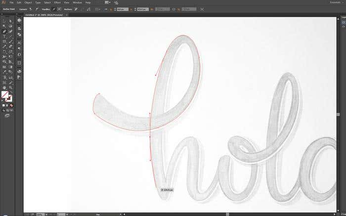 Make your own cursive lettering - Step 6 - vectorizing