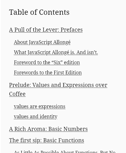 Table of contents for JavaScript Allongé