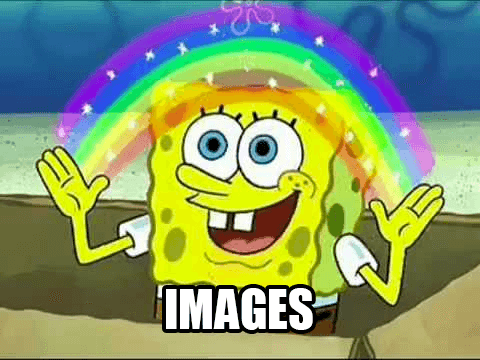 SpongeBob Squarepants with a rainbow between his hands, and the word 'images' at the bottom of the picture.