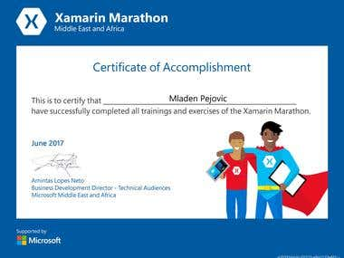 Certificate for successfully completing Xamarin Marathon. Expert in mobile open-source technologies with Azure.