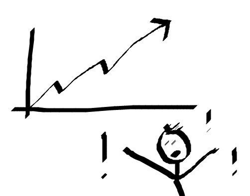 Example image of a graph doodle and shocked stickman