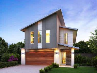Australian homes facade rendering.