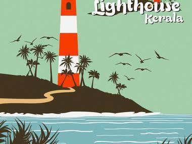 The Illustration of Kannur Lighthouse, Kerala.