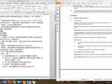 Proofreading of translated agreement that needs to hand to court. It is one type of projects sometimes I receive from lawyers.