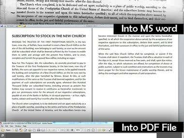 insert scanned pdf into word
