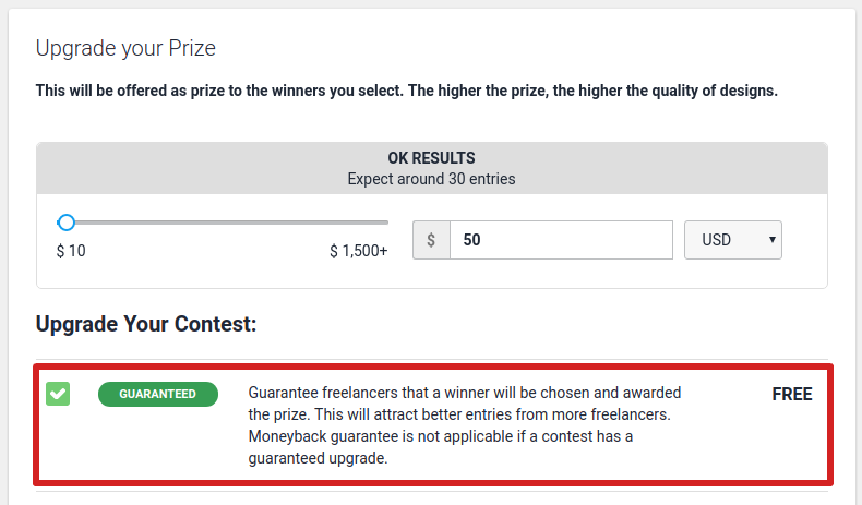 Guaranteed contest upgrade after posting