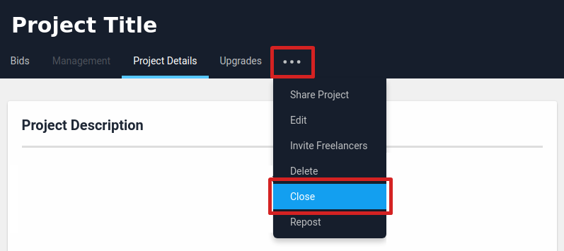 Close project option from the project view page