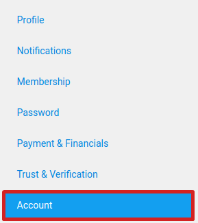 Account tab on the Account Settings page