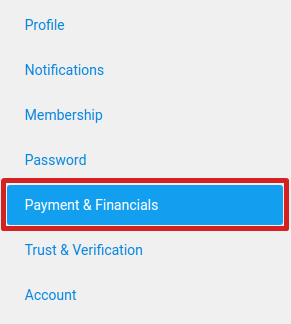 Payment and financials tab