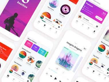 Music Streaming app design for Audacity IT Solutions Ltd