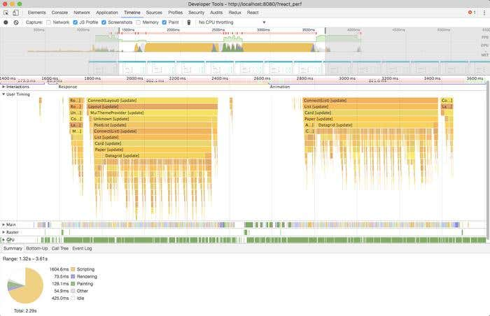 Screenshot of a Flamegraph of a React application in Chrome DevTools