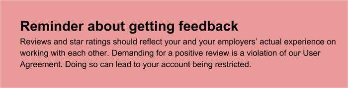 Reminder about getting feedback