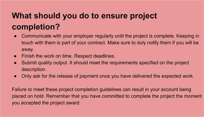 Ensuring project completion