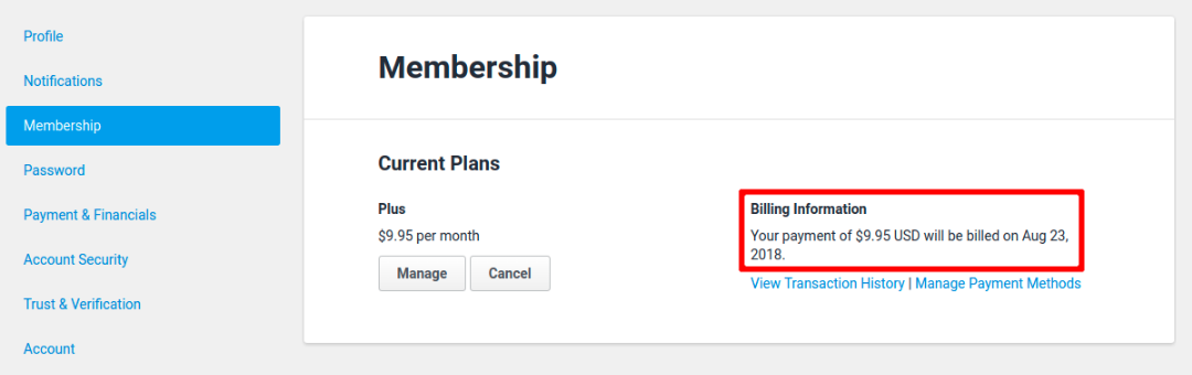 Settings - Membership tab
