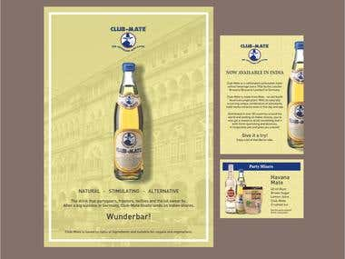 A set of marketing material for a refreshing drink using retro colours and design