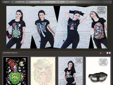 Online shop. T-shirts and accessories.   Customer account, pdf invoice sending, Paypal payment configured. Shipping configured. Email alerts.   This shop is working in whole Europe.  http://www.studiodarkworld.com