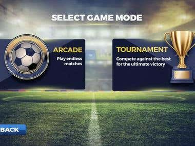 This is a mobile game app designed with killer graphics, super-smooth animation and easy to use controls.The game allows players to adjust the difficulty level  of the AI controlling the opposing team. It also features a multiplayer tournament mode.