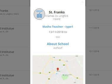 Teacher and School portal for post job, search & apply on job. Internal communication, email notification & other stuffs. Use Angular, node, Mongodb & bootstrap.