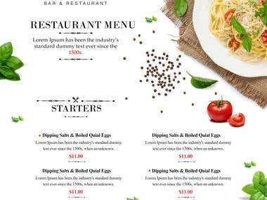 A good restaurant menu design is key to any restaurant's marketing plan. When you design a menu it should express your eatery's personality, focuses your overall operations, promotes profitability, establishes your budget, and keeps your brand fresh in your customer's mind. We are best at designing services and always increase business through our innovative designs.