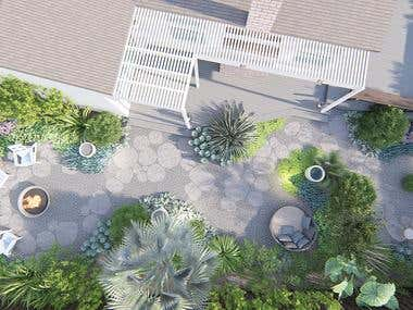 Description from client:      We are wanting to redesign and redo the current landscaping in our backyard. Presently, there is a large fig tree and a large pine tree as well as other smaller shrubs, a small rock retaining wall, and a lawn. We would like them all to be removed and replaced with a low maintenance, drought tolerant landscape. We want to keep the current deck, though we would like some gravel pathways and a seating area or two where we could add a fire pit. The yard is fairly level and we'd like a design that maintains that aspect.       Our goal is to have a backyard that requires low water and ease of maintenance while also showcasing the plants themselves. We don't have children so delicate specimens and those with spines are alright and can be included in a design. We have a large deck that we use for entertaining so the rest of the yard we'd like to turn more into a botanical oasis.