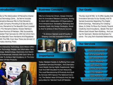 3 FOLD BROCHURE DESIGN FOR  MANSEHRA INTERACTIVE TECHNOLOGY ZONE