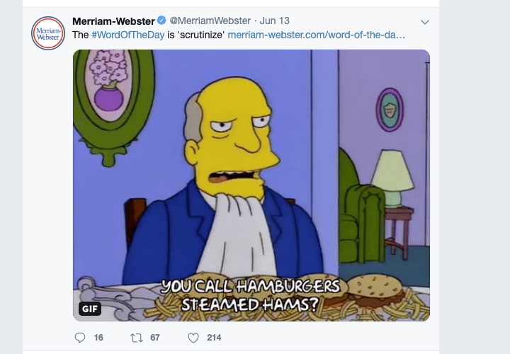 merriam webster simpsons gif twitter brands doing social media well