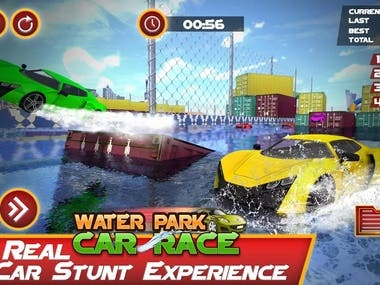 Crazy GT Stunt, Twist, makes loops, extreme racing tricks, and tilt your way around tight corners and enjoy the race. Breathtaking water slides and a realistic environment with addictive gameplay. Choose many sports cars from the garage in different levels with varying difficulties. Water slides are designed to drive the mega ramp cars on it and twist with the competitors by making different real stunts. So make the racing in the waterpark slide and ride interesting. Here the amusement theme park is a simulator park game with racing, drifting and driving concept.