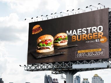 I have designed the Billboard for the Fast Food company.