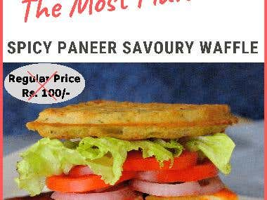 I have designed a Poster for Waffle World's Spicy Paneer Waffle.