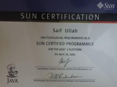 Sun Certified Java Programmer.