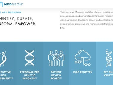 The innovative Medneon digital AI platform curates up-to-date, actionable and personalized information regarding an individual's risk of developing cancer and generates insights on appropriate preventive and management strategies over time.