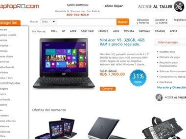 Another project for our client from the Dominican Republic. http://laptoprd.com/ is a platform for selling Online used and new laptops, Computers and other IT equipment.  This business model is successfully working from 2013 for our client and we are constantly working to keep it according to the trends and needs of our customer.