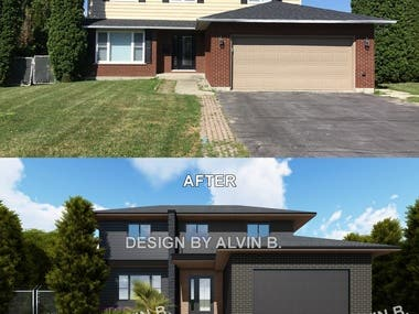 This two are some of many finished projects here in freelancer, Architectural design and rendering, day time or night time render. The one project is a renovation in CANADA, see the before and after.