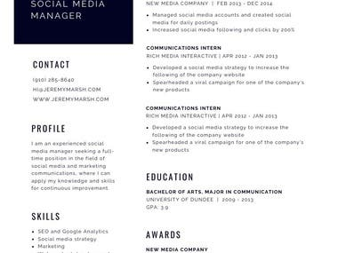 Smart and good looking Resume Style Draft for the sake of layout. Photo can be added Colours can be changed ATS friendly Design delivered in PDF file (unlimited reviews and updates) Spanish and English content