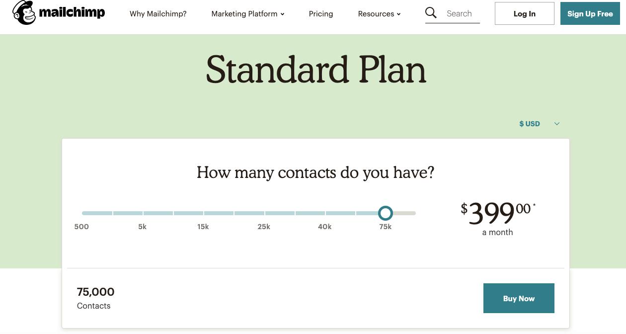 mailchimp standard plan