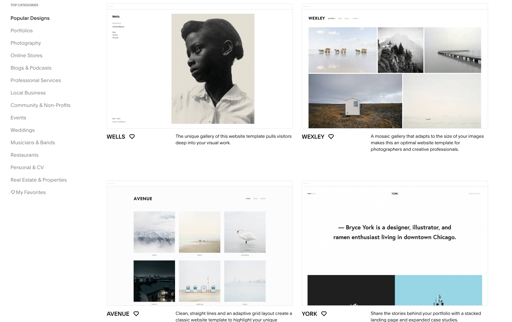 squarespace template library