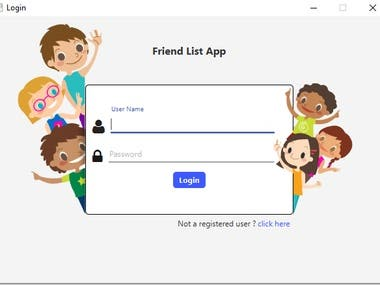 1. Login if you are all ready registered other wise registered first 2. Search your friend search with (Gender ,Age,Name,Average Age) 3. Friend Request Send and receive 4. View Friend Profile and view last online status 5. View Top 3 Male User and Top 3 Female Visit Profile 6. View Your Friend List  7. Chat Your Friend's