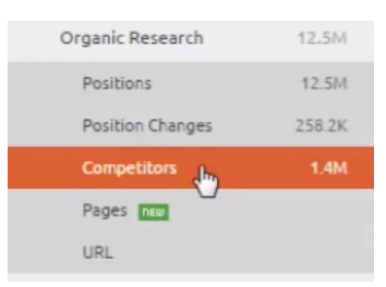 semrush competitors tab
