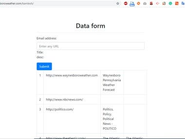 I want to have a simple form where I can add a link and the page title for the link and description will automatically be grabbed. Then when it's submitted it adds the link onto a JSON file along with all previous links submitted. I would like this in PHP.