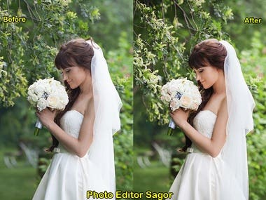 Hi there, Do you have wedding photo? i will make your photo Editing & Retouching and make more Eye- Catching and Attractive. I will perfectly optimize and prepare your photo to looking Glamorous and Attractive. i have 3 Years Experience of photo Editing.   Delivery Timely Quick response for your all message  Message me now Thank you.